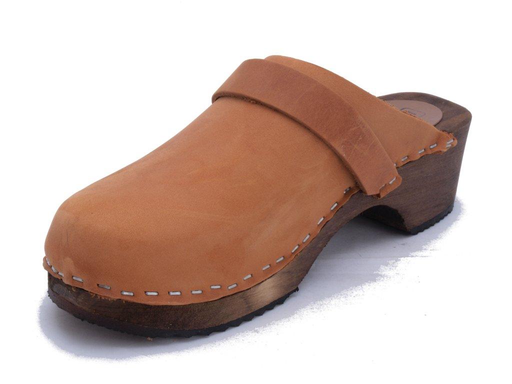 EMMA Cognac klassiska svenska träskor och sandaler DAM