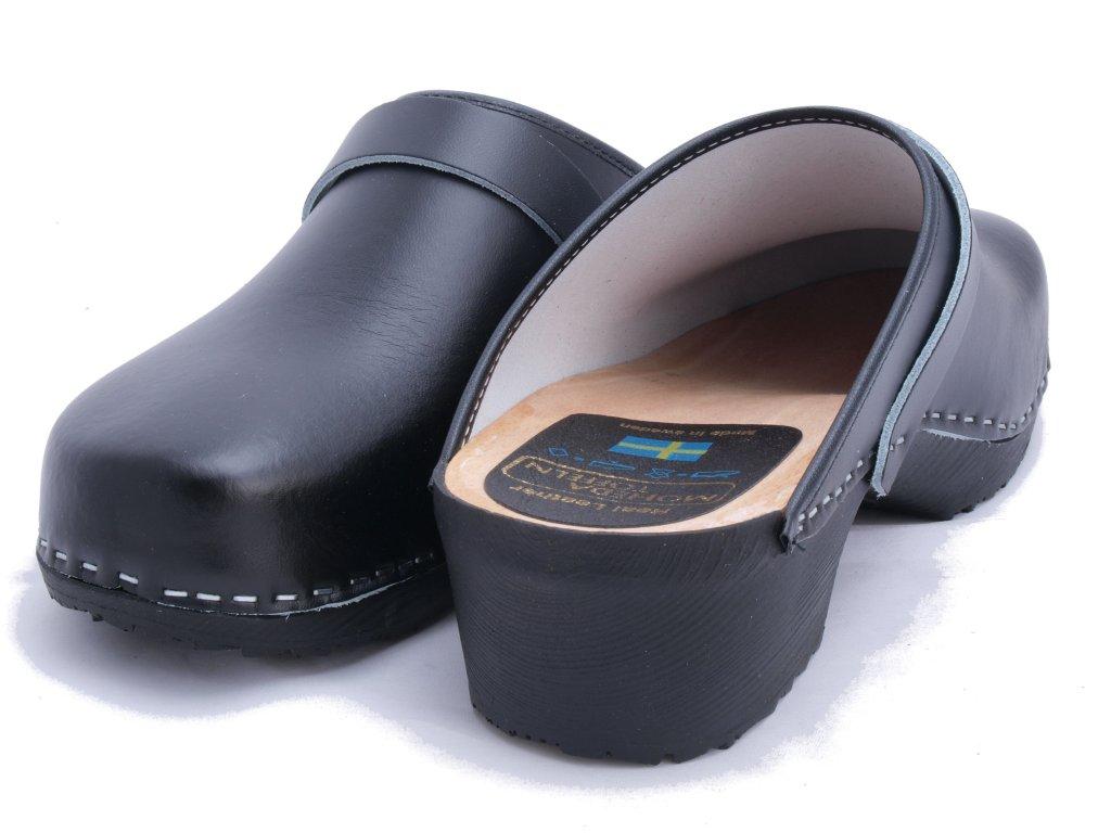 KRONAN Black PU klassiska svenska träskor och sandaler